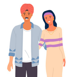 Arabic man with mustache in turban on head woman vector