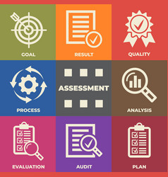 Assessment concept with icons and signs vector