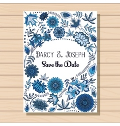 Autumn wedding invitation blue on wooden vector