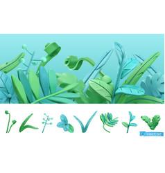 Blue and green spring grass cartoon 3d icon set vector