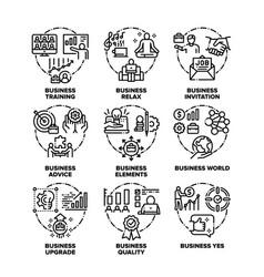 Business world set icons black vector