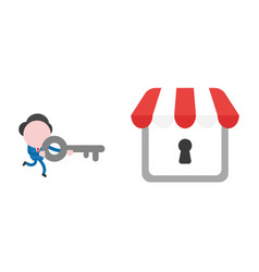 Businessman character running and carrying key to vector