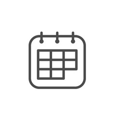 calendar line outline icon and page symbol vector image
