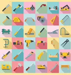 carpenter icon set flat style vector image