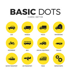 Cars flat icons set vector