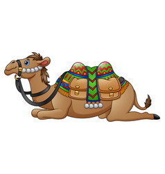 Cartoon camel with saddle vector