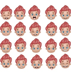 Cartoon funny Little boy various face expressions vector image