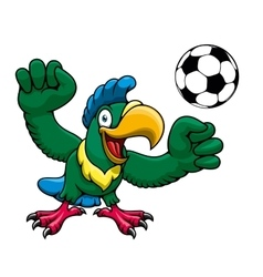 Cartoon parrot player with soccer ball vector