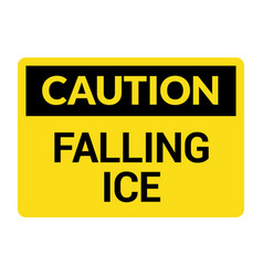 caution falling ice snow danger icon warning vector image