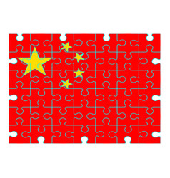 chinese flag puzzle on white background vector image