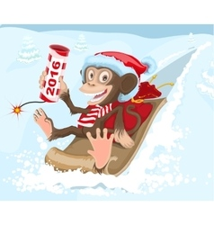 Christmas monkey riding on a sled and keeps petard vector