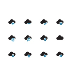 Cloud duotone icons on white background vector image