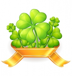 clovers with ribbon vector image