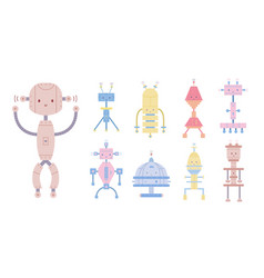 collection of colorful cute smiling robots vector image
