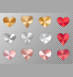 Collection of metal hearts vector