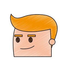 Color pencil image side view face cartoon guy with vector