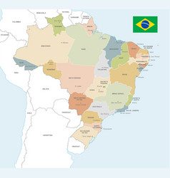 colorful map brazil vector image