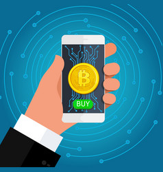 concept crypto currency phone in hand with a vector image