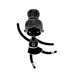 contour girl dancing ballet with hair bun vector image
