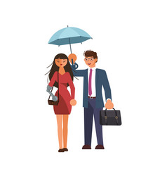 Couple of disabled lovers go under the umbrella vector
