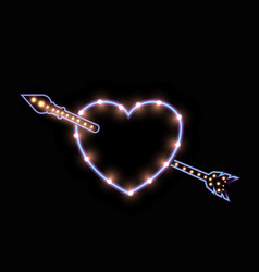 Cute luminescent neon heart with lights lamps vector