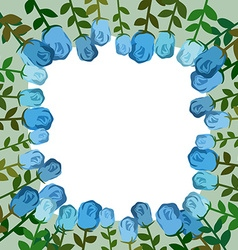 Decorative frame of blue roses Vintage background vector image
