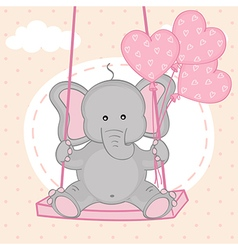 elephant on swing with balloons vector image