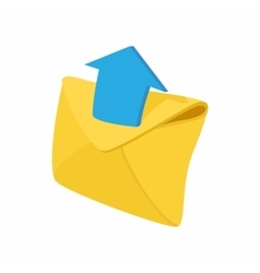 Envelope and blue arrow icon cartoon style vector image