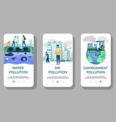 Environment pollution mobile app onboarding vector