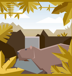 flat geometric jungle background with capybara vector image