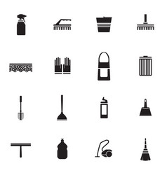 Flat housework icons set vector