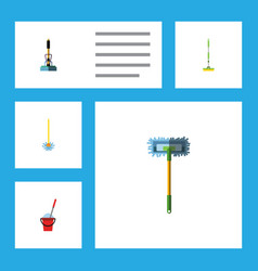Flat icon mop set of broomstick broom equipment vector