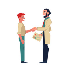 Flat male doctor shaking hand to man patient vector