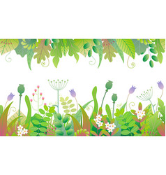 Floral seamless borders with green plants vector