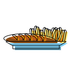 french fries and bread vector image