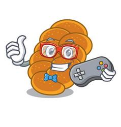 Gamer challah mascot cartoon style vector