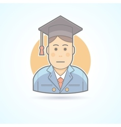 Graduated boy man in an academic cap icon vector