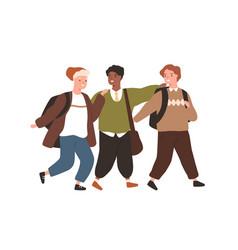group smiling diverse pupils hugging walking vector image