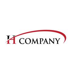 H letter swoosh logo vector