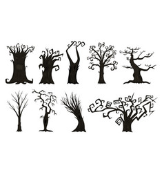 Halloween trees creepy or scary and frightening vector