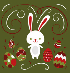 happy easter rabbit easter funny bunny and eggs vector image vector image