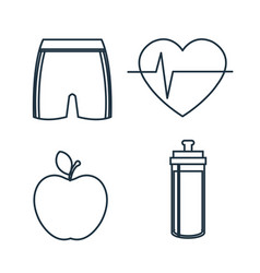 Healthy lifestyle flat icons vector