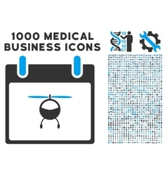 Helicopter Calendar Day Icon With 1000 Medical vector