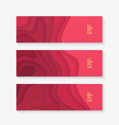 Horizontal banner set template with red paper cut vector