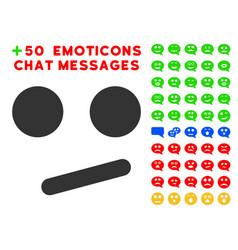 Indifferent smiley smile icon with bonus mood set vector