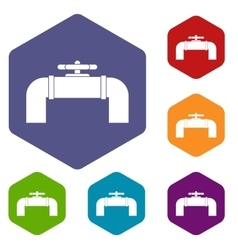Industrial pipe valve icons set vector image