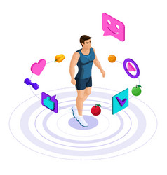 isometric male athlete beautiful sports body vector image