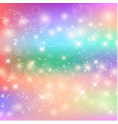kawaii baby unicorn background with glowing stars vector image
