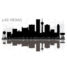 Las vegas city skyline black and white silhouette vector