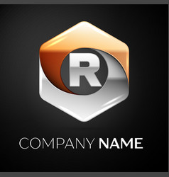 Letter r logo symbol in the colorful hexagonal on vector